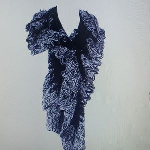 Charter Club Knit Scarf New Black Grey Chenille